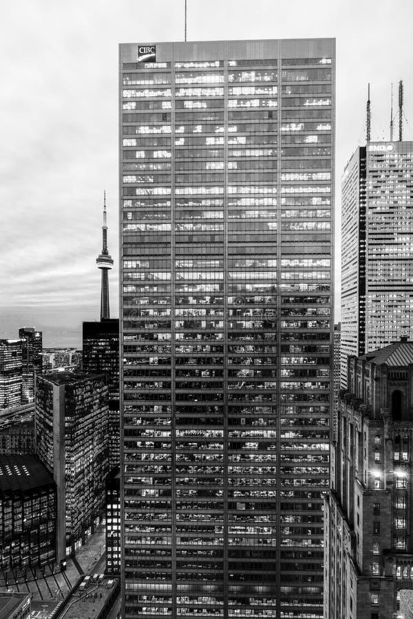 Kern de Van de binnenstad van Toronto bij nacht stock afbeeldingen