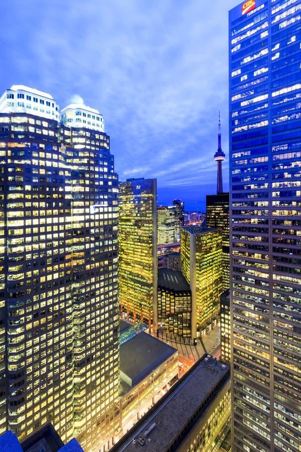 Kern de Van de binnenstad van Toronto bij nacht royalty-vrije stock afbeelding