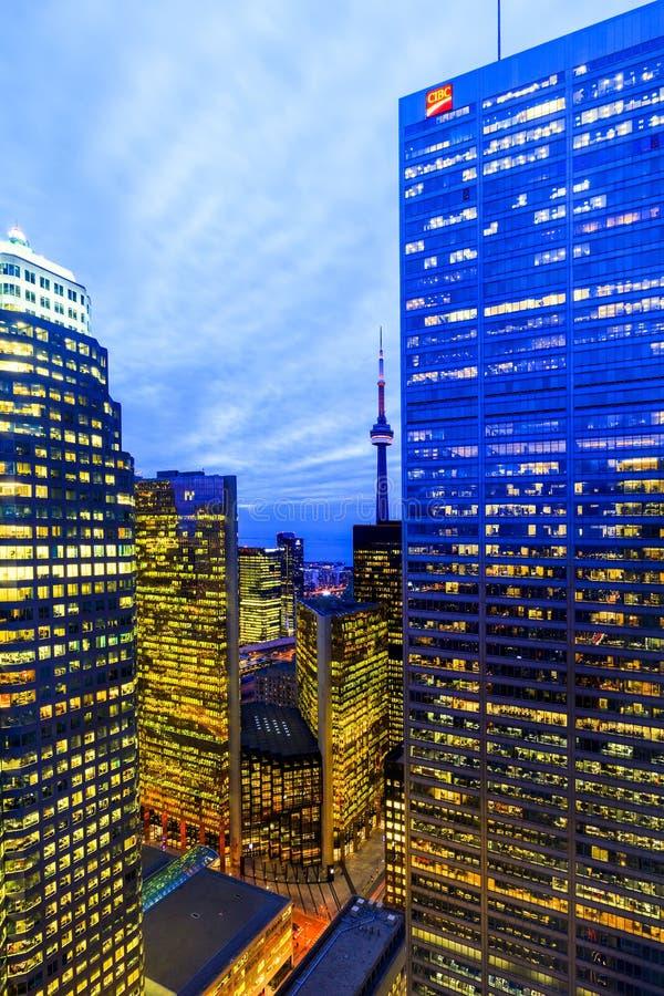 Kern de Van de binnenstad van Toronto bij nacht stock fotografie
