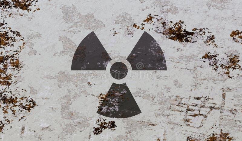 Kern en radioactief symbool op grungeachtergrond 3D teruggegeven illustratie royalty-vrije illustratie