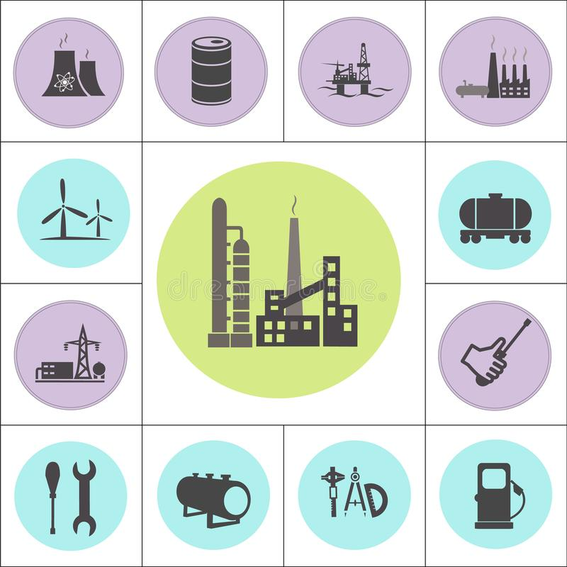 Kern of geplaatste olie en gaselektrische centrales stock illustratie