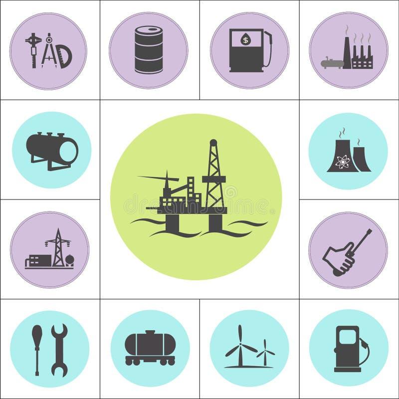 Kern of geplaatste olie en gaselektrische centrales royalty-vrije illustratie