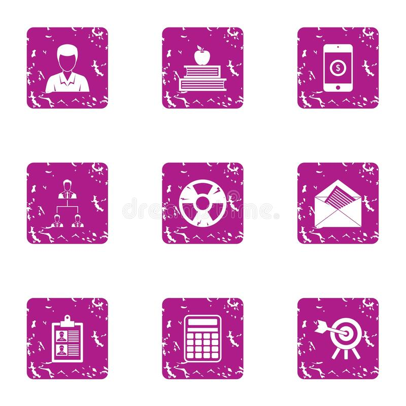 Kern geplaatste sectorpictogrammen, grunge stijl vector illustratie