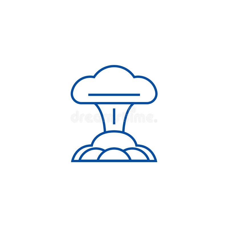 Kern het pictogramconcept van de explosielijn Kernexplosie vlak vectorsymbool, teken, overzichtsillustratie royalty-vrije illustratie