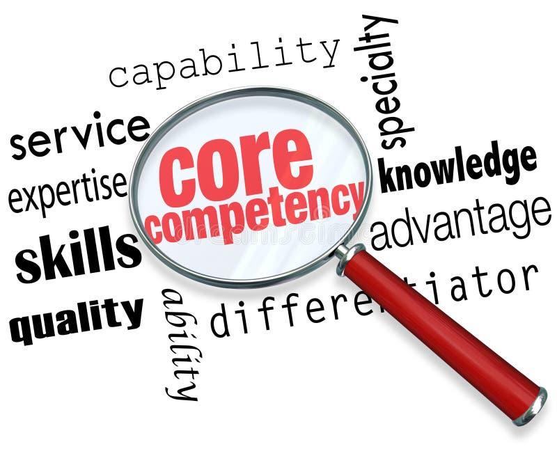 Kern-Kompetenz-Lupen-Wort-Entdeckung Competitve-Vorteil vektor abbildung