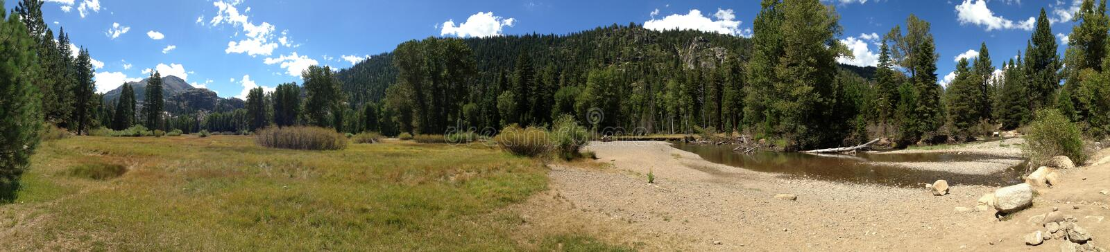 The Kern River valley at Kennedy Meadows. California - Kennedy Meadows - The Kern River meanders through Kennedy Meadows on a sunny summer afternoon. August stock image