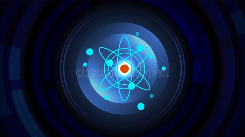 Kern van de machtsachtergrond van de atoommolecule vector illustratie