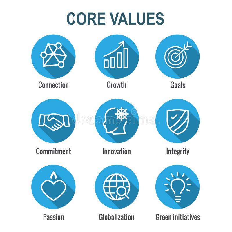 Kern-Wert-Entwurf oder Linie Ikone, die Integrität u. Zweck übermittelt vektor abbildung