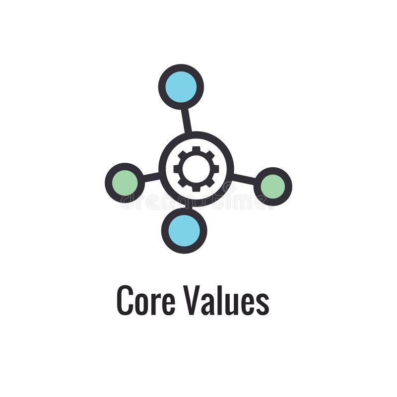 Kern-Werte umreißen,/Linie die Ikone, die einen spezifischen Zweck übermittelt vektor abbildung