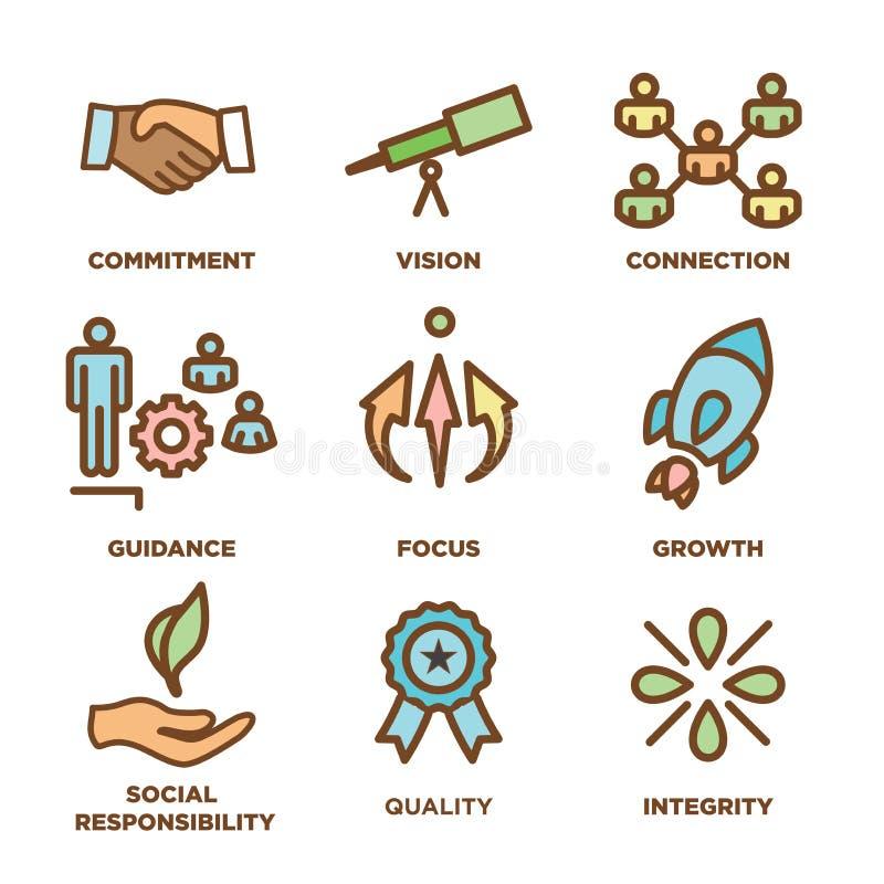 Kern-Werte umreißen,/Linie die Ikone, die Integrität - Zweck übermittelt stock abbildung