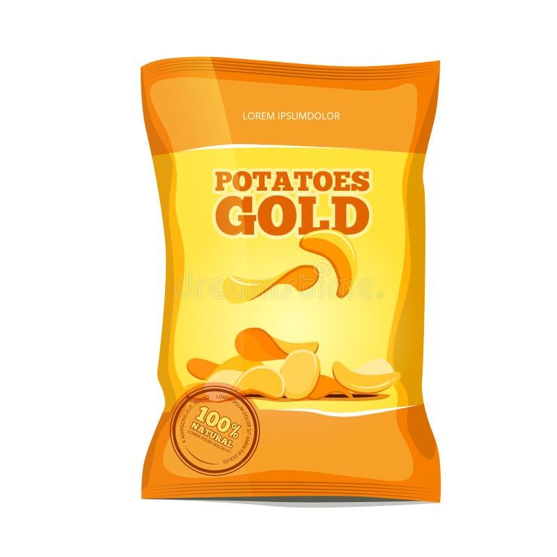 Kernachtig vector de zakpakket van chipssnacks stock illustratie