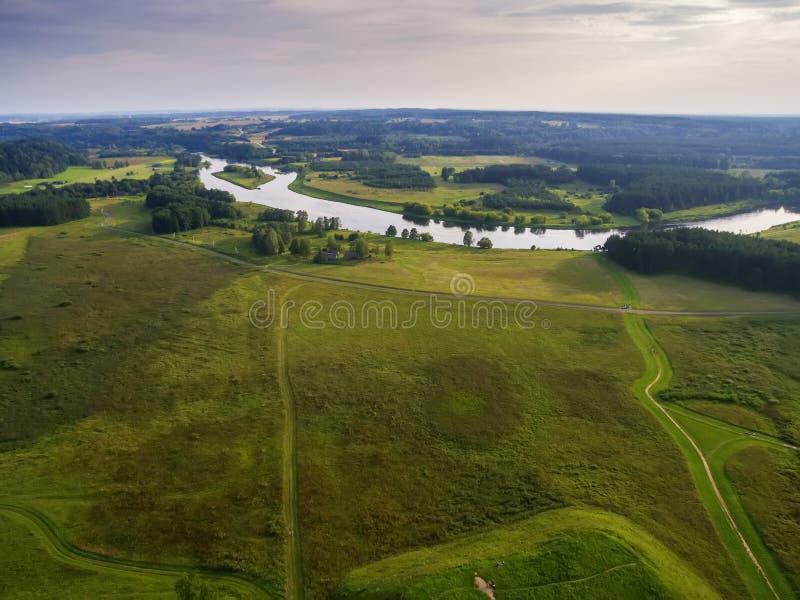 Kernave,立陶宛,空中顶视图历史首都 免版税库存图片