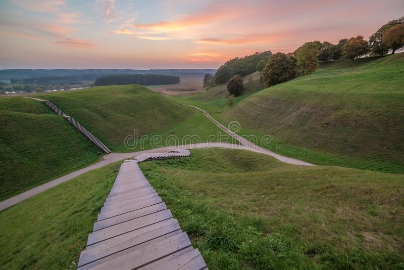 Kernave, historical capital city of Lithuania. In the sunset stock photos
