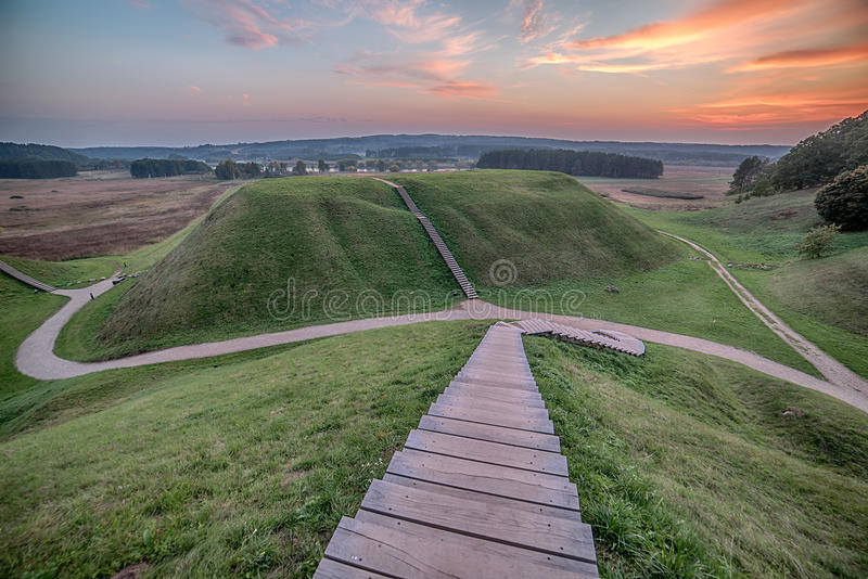 Kernave, historical capital city of Lithuania. In the sunset royalty free stock photos