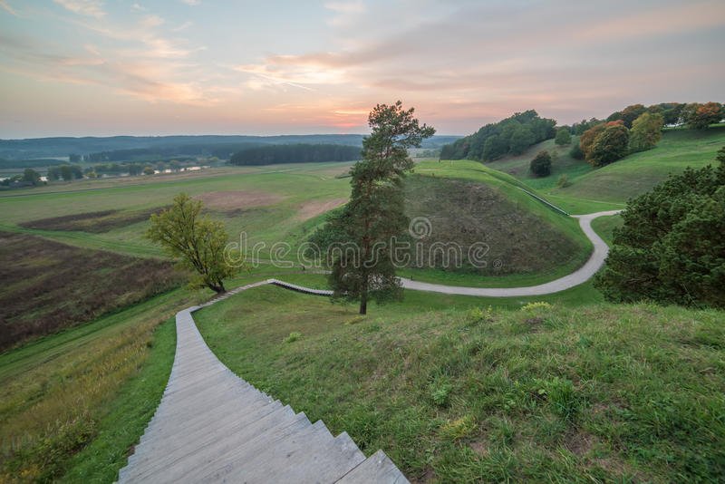 Kernave, historical capital city of Lithuania. In the sunset stock image