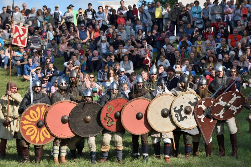 Medieval fights at International Festival of Experimental Archeology stock photos