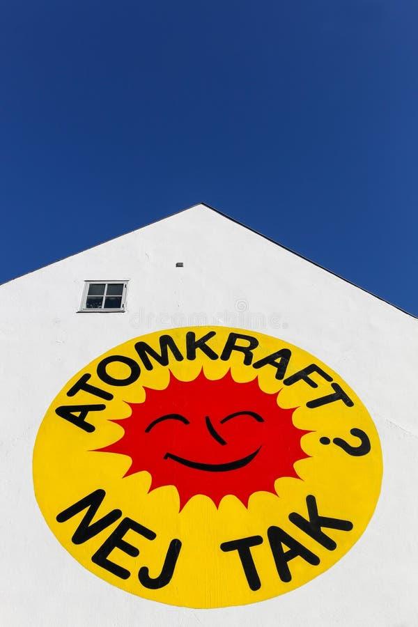 Kernenergie, Geen Dankembleem op een muur in Aarhus stock foto's