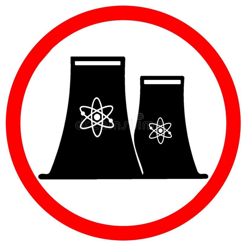 Kernenergiegenerator die de cirkelillustratie van verbodsverkeersteken op witte achtergrond waarschuwen vector illustratie