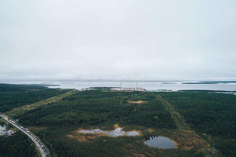 Kernenergieinstallatie met een Atoomreactor wordt uitgerust die royalty-vrije stock foto