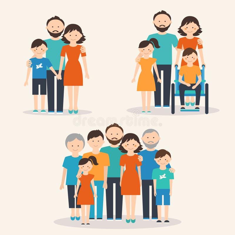 Kernfamilie, Familie met Speciaal Behoeftenkind en Uitgebreide Familie Families van Verschillende Types stock afbeelding