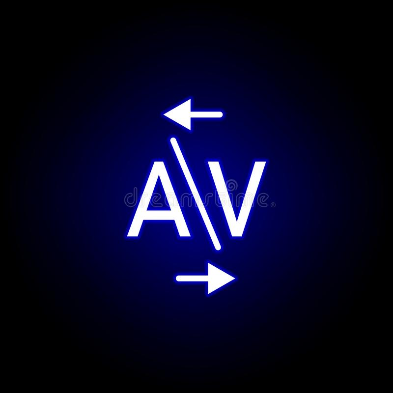 Kerning, Wort A und v-Ikone in der Neonart Kann f?r Netz, Logo, mobiler App, UI, UX verwendet werden stock abbildung