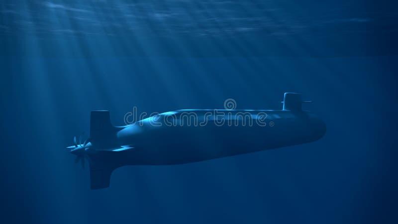Kernonderzeeër onder de blauwe golven stock illustratie