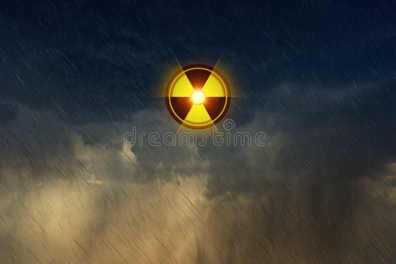 Kernradioactieve neerslag, gevaarlijk ongeval met radioactieve binnen isotopen vector illustratie