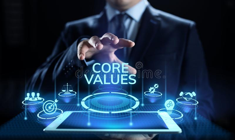 Kernvalues responsibility Company Ethisch Bedrijfsconcept royalty-vrije stock foto's