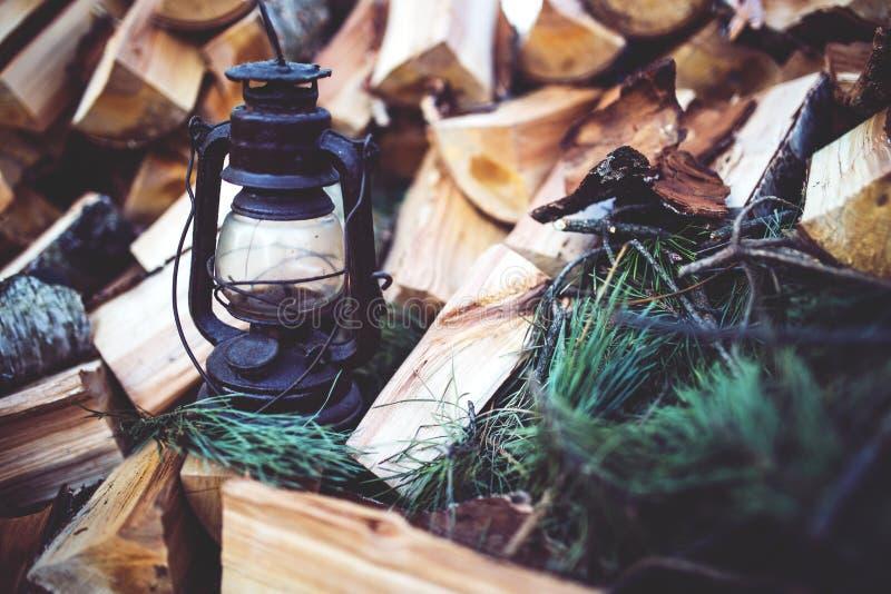 Kerosene lamp on the wood royalty free stock photo