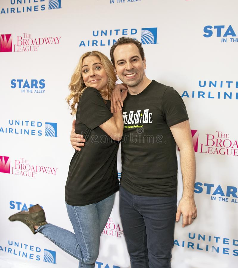 Kerry Butler & Rob McClure at 2019 Stars in the Alley. Actors Kerry Butler and Rob McClure at Stars in the Alley, a free outdoor afternoon 2 hour concert stock photos