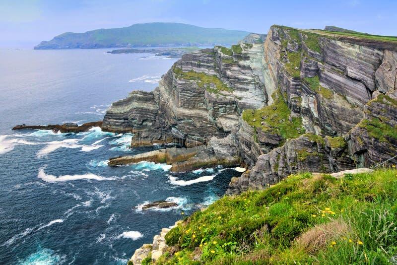 Kerry Cliffs van Portmagee op de Skellig-Ringsaandrijving, Ierland stock fotografie