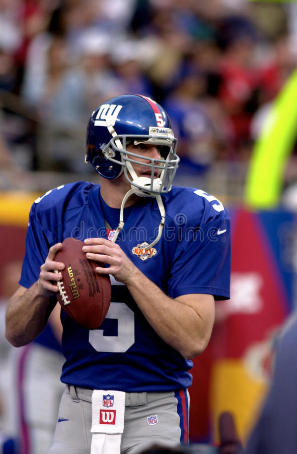 Kerry Collins. New York Giants QB Kerry Collins in Super Bowl XXXV action. (Image taken from color slide royalty free stock images