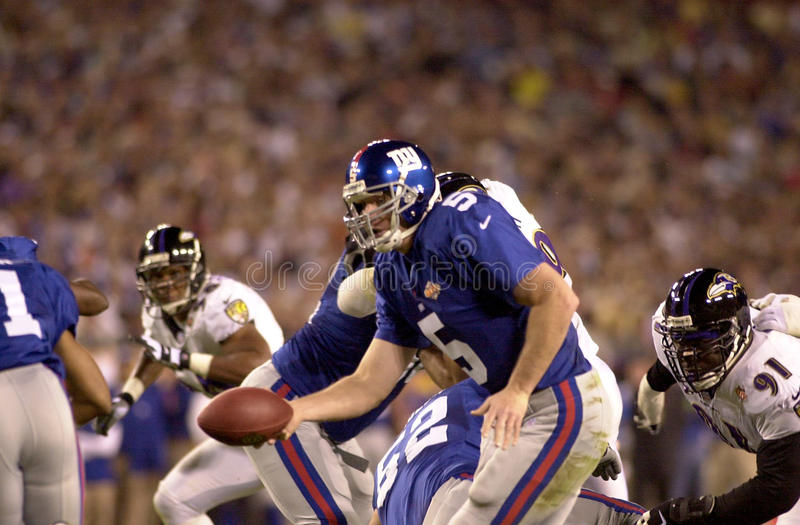 Kerry Collins. New York Giants QB Kerry Collins in Super Bowl XXXV action. (Image taken from color slide royalty free stock photos