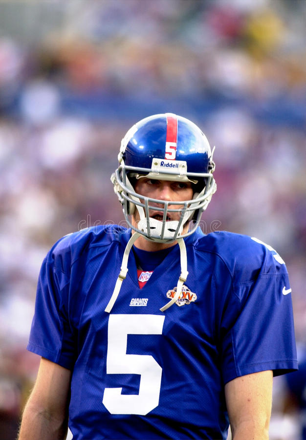 Kerry Collins. New York Giants QB Kerry Collins warming up before Super Bowl XXXV. (Image taken from color slide royalty free stock image