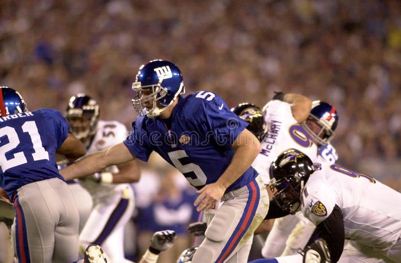 Kerry Collins. New York Giants QB Kerry Collins warming up before Super Bowl XXXV. (Image taken from color slide royalty free stock images