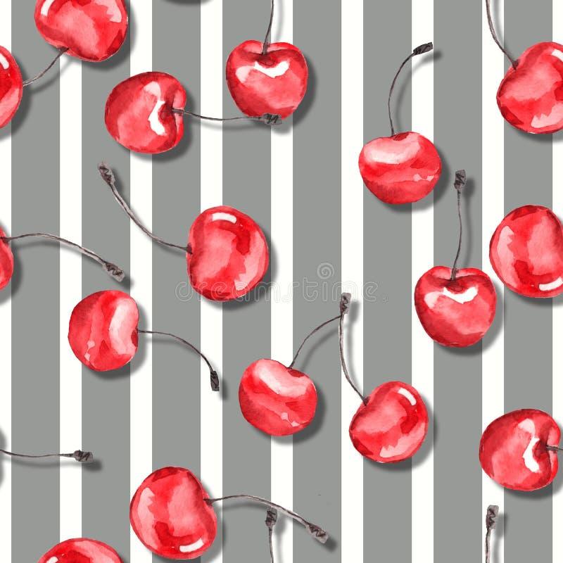 Kers Waterverf naadloos patroon 4 royalty-vrije illustratie