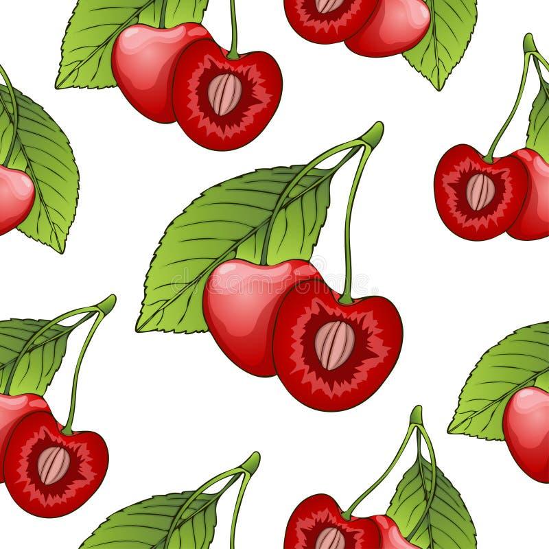 Kersen in een besnoeiing met been, naadloos patroon, bessenachtergrond Geschilderd fruit, grafische kunst, beeldverhaal Voor het  stock illustratie