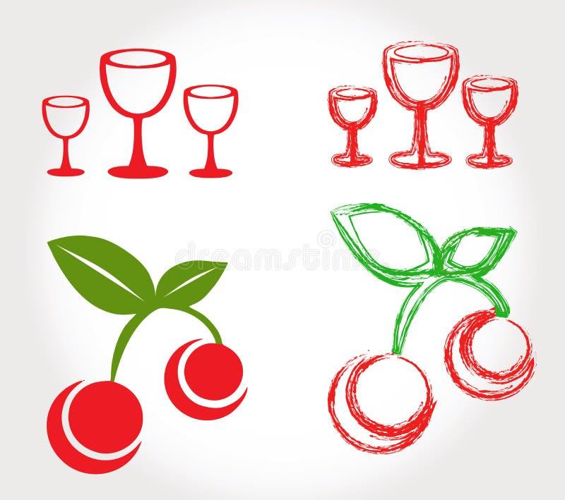 Kersen en wijnglazen royalty-vrije illustratie