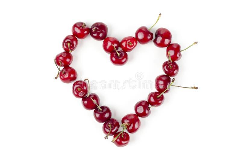 Kersen in hartvorm royalty-vrije stock afbeelding