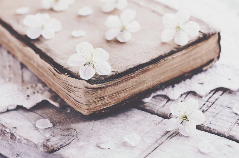 Kersenbloemen die op oud boek op kantdoily leggen stock fotografie