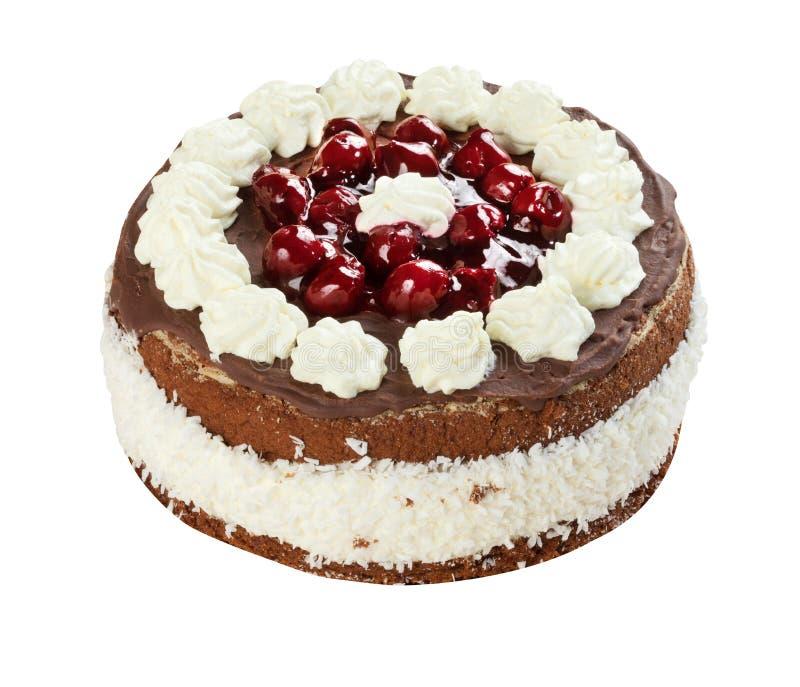 Kersencake op wit wordt geïsoleerd dat royalty-vrije stock foto