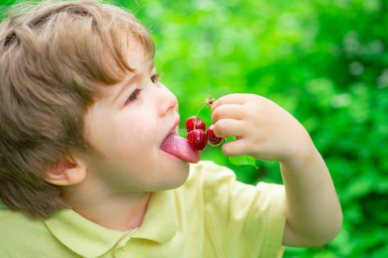 Kersensmaak De jongen eet de zomervruchten Kersenseizoen Vruchten en bessen voor kinderen stock foto's