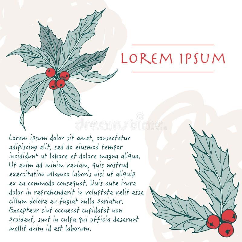 Kerstachtergrond met ilex-kleur voor plantenpastel, hoek met penseelstreek voor wenskaart royalty-vrije stock foto's