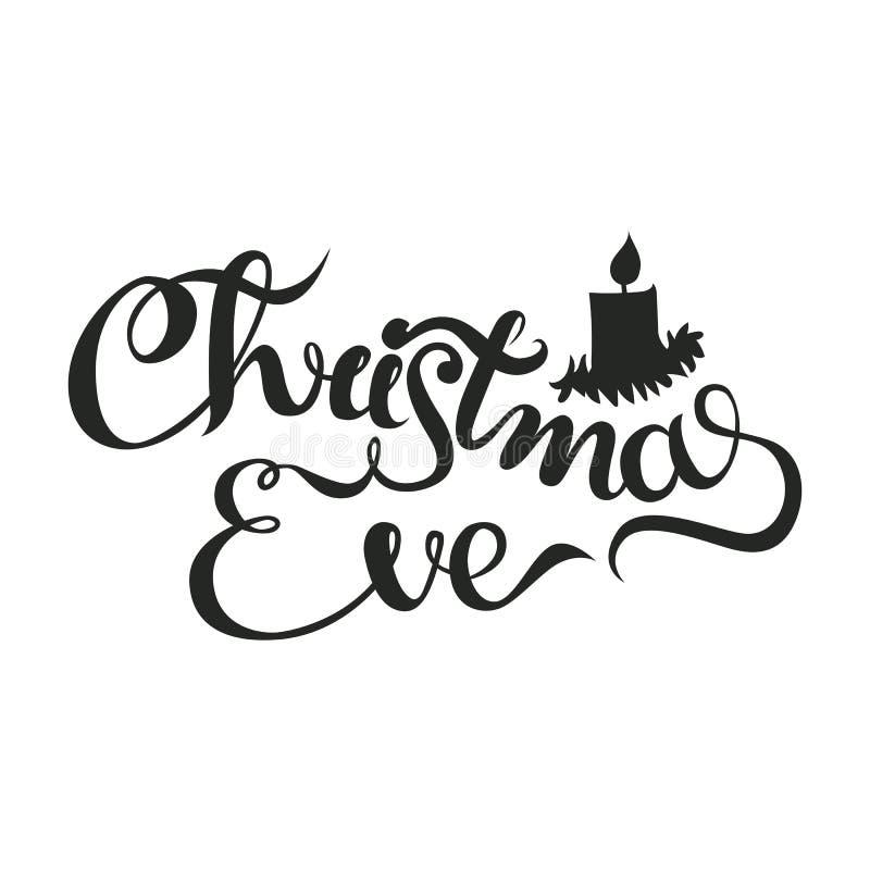 Kerstavond - het van letters voorzien Kerstmis en de kalligrafieuitdrukking van de Nieuwjaarvakantie op de achtergrond wordt geïs royalty-vrije stock foto's
