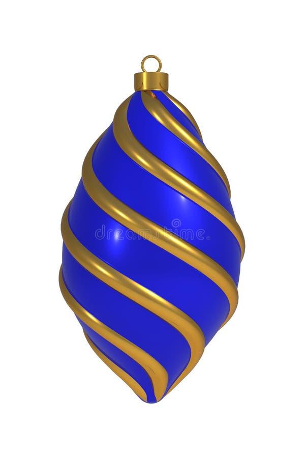 Kerstbal Nieuwjaarsdecoratie gouden blauwe convolutielijnen op de wintertijd die het zuidoosten van het juvenir hangt royalty-vrije illustratie