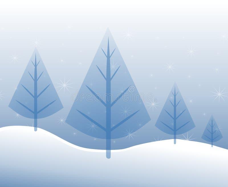 Kerstbomen in Blauw royalty-vrije illustratie