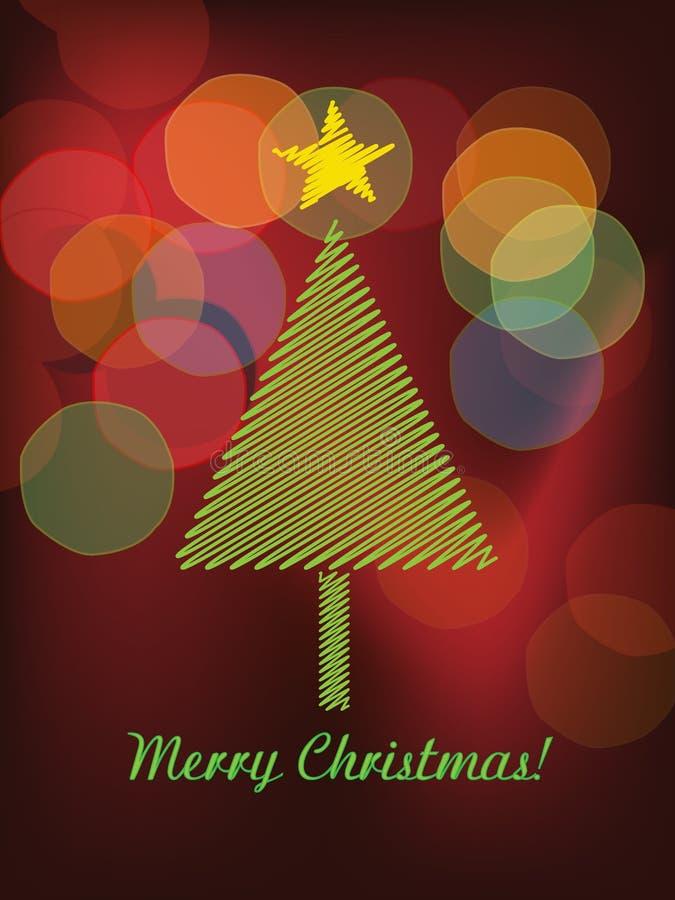 Kerstbomen en kleurrijke bokehvector royalty-vrije illustratie