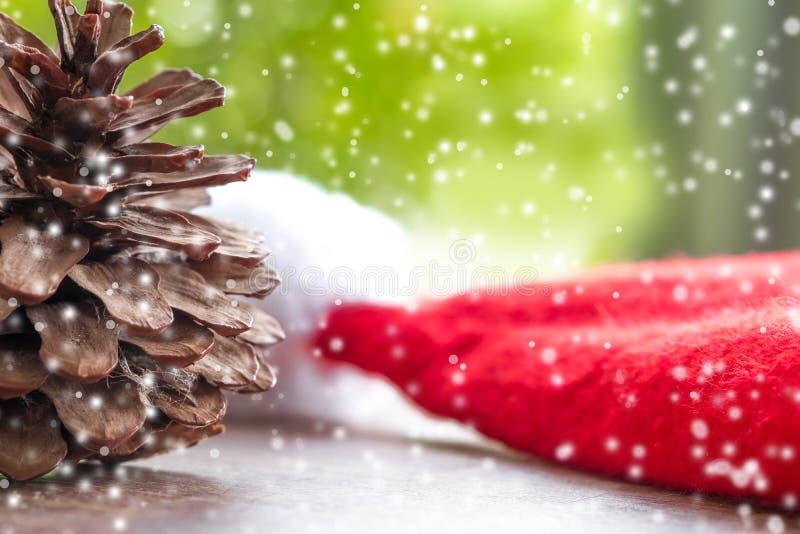 Kerstbomen en vrolijk Kerstmiswoord Sluit omhoog Denneappels stock afbeeldingen