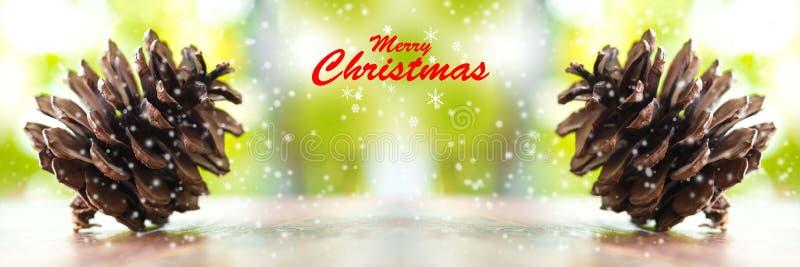 Kerstbomen en vrolijk Kerstmiswoord Sluit omhoog Denneappels royalty-vrije stock foto