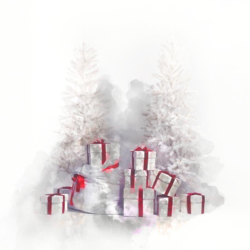 Kerstbomen met hoop van giftdozen Digitale waterverf stock illustratie